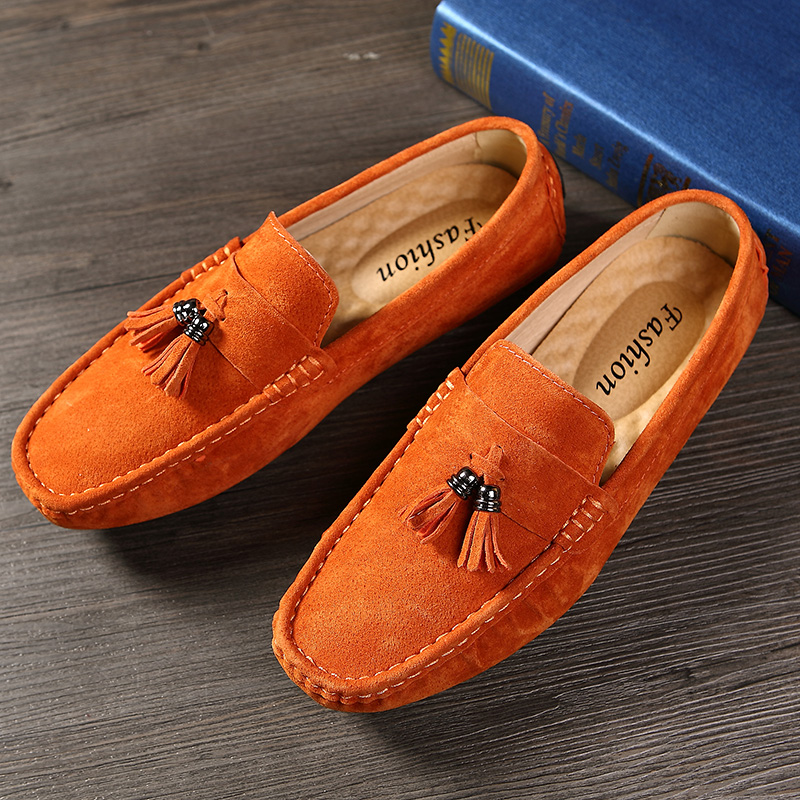 Men Shoes Loafers Casual Shoes Fashion Mens Shoes Genuine Leather Men's Loafers Mans Moccasins Slip On Shoes Men's Flats Orange