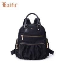 Laifu плиссированные Дизайн девочки-подростки, мини-нейлоновый рюкзак Водонепроницаемый Модные женские школьная сумка Японский Корейский стиль, черный