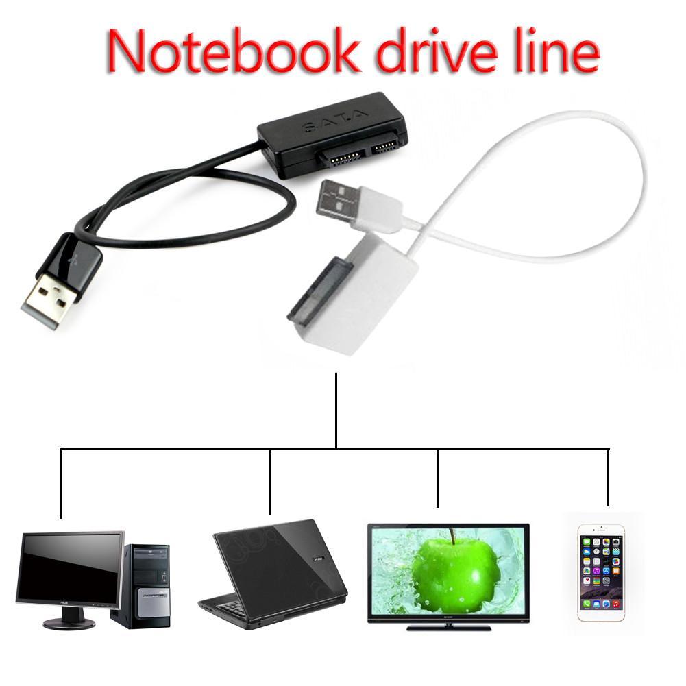 Laptop Sata Cable SATA To USB Adapter 6P + 7P SATA To USB2.0 Cd-rom Cable 13-Pin Adapter Box