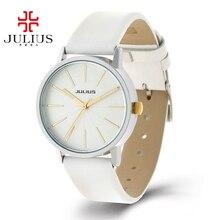 2016 Chaude meilleur montre-bracelet en cuir de Femmes dames robe analogique montres mode casual Miyota quartz montre Corée Julius 387 colck