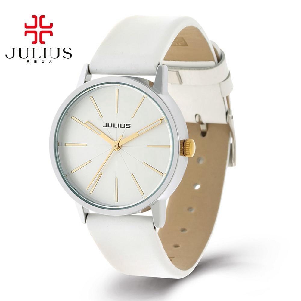 Prix pour Chaude Femmes de style classique en cuir montre-bracelet dames robe analogique montres mode casual montre à quartz Top marque Julius 387 colck