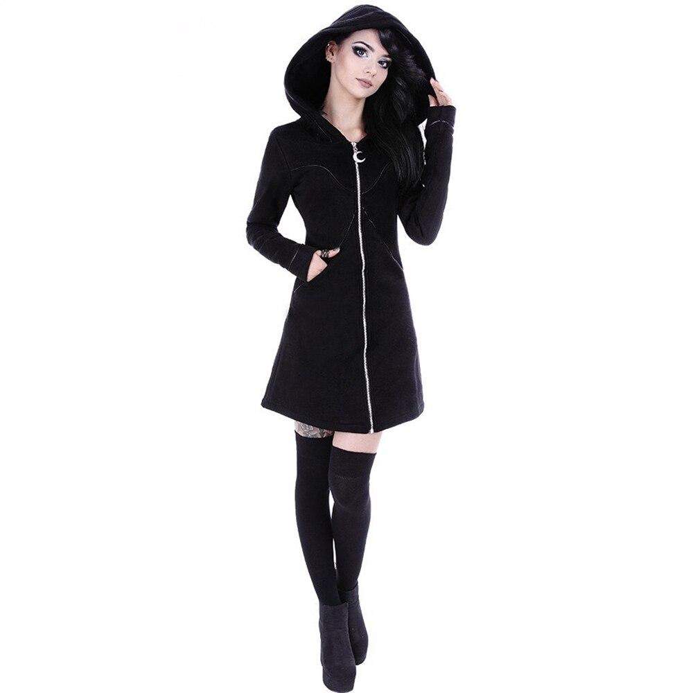 2019 nova gothic hoodie feminino casual manga longa com capuz zip-up camisolas com capuz jumper feminino agasalho