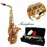 High Quality Alto Eb Golden Saxophone Sax Paint Gold With Case Accessories For Woodwind Mucical Instruments