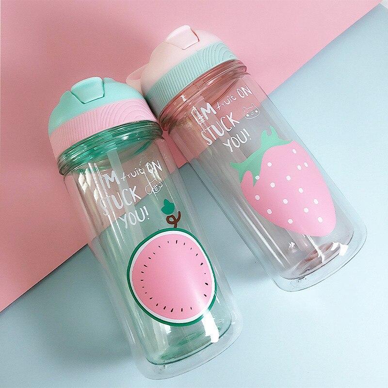 קריקטורה ספורט בקבוק מים עם קש פלסטיק שכבה כפולה כוס Drinkware ניידת ידידותיים לסביבה ילדים עם מכסה BPA חינם