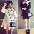 3xl plus tamaño grande ropa 2016 engrosamiento navy maxilar falbala a1997 sweet dress mujer de manga larga negro blanco