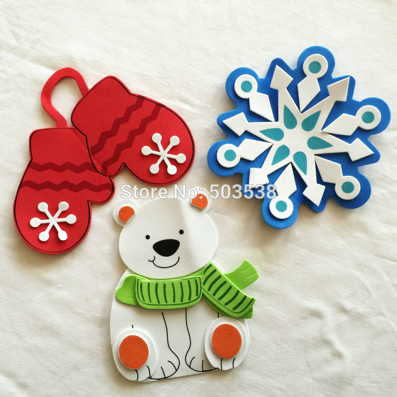 big 15cm diy christmas fridge magnet craft kits wall stickers xmas toys early educational toy goody bag3design cheap in model building kits from toys