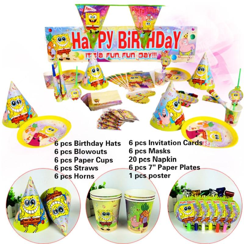 Качественные вечерние баннеры для детей с днем рождения, Детские баннеры для душа, тарелки и соломки, вечерние украшения с рожками