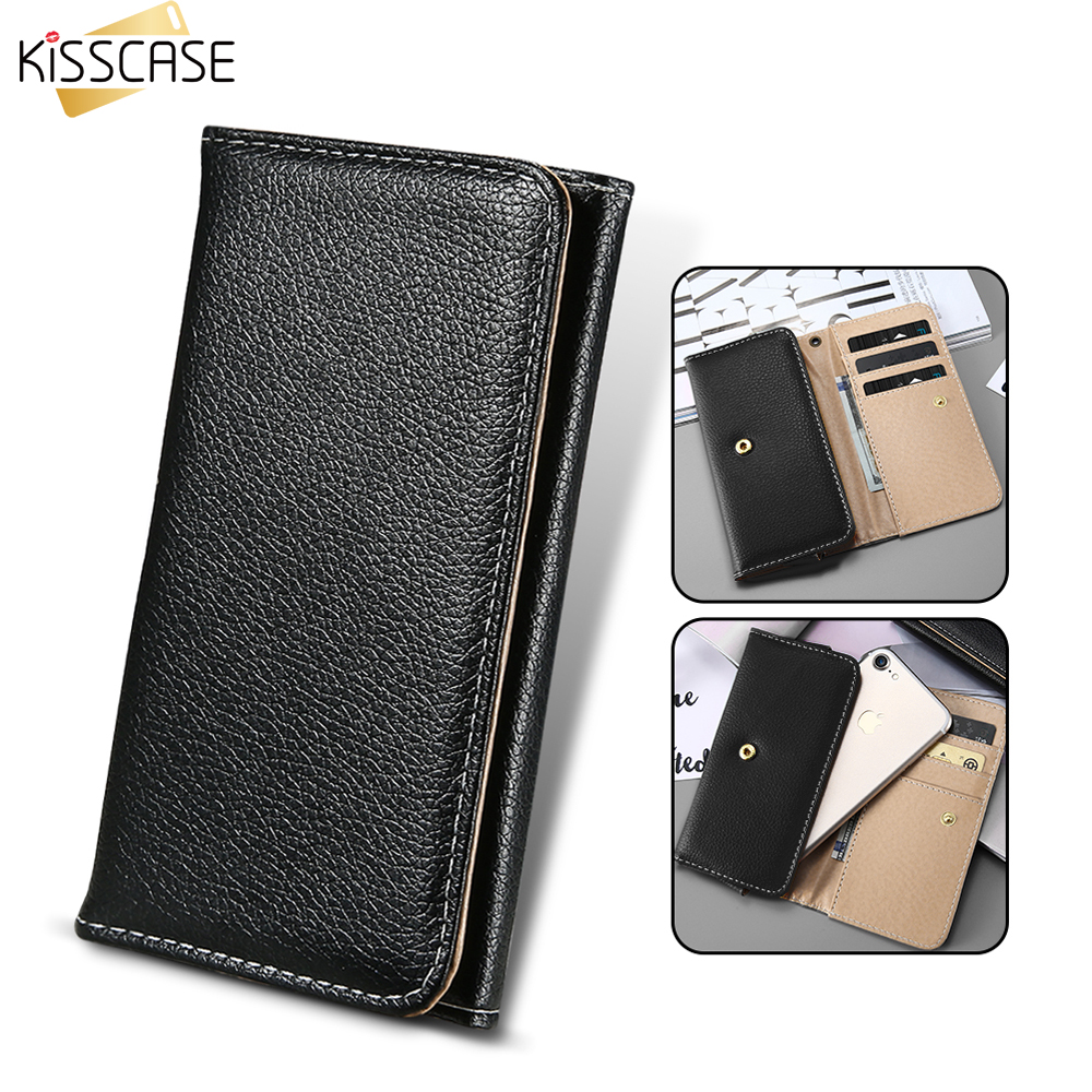 KISSCASE General Wallet Pouch PU Leather Mini Phone Bag Case For iphone 7 6 6s 5S SE Cover For Samsung S8 S7 Edge Case Bags