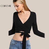 COLROVIE Rib Knit Sexy Crop Top Black Slim Wrap T-shirts Women Surplice Summer Tops 2017 Fall Long Sleeve Bow Tie Casual T-shirt