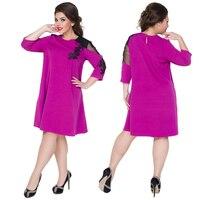 2017 Ukraine Loose Dress For Women A Line Lace Party Dress Plus Size Women Clothing Large