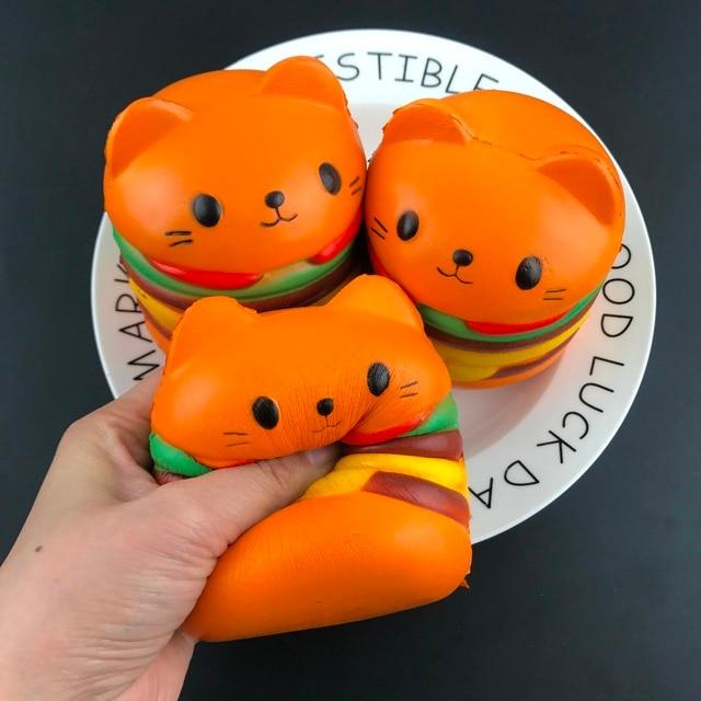 Bets Selling Squeeze Toys Squishy Jumbo Cartoon Cat Hamburger