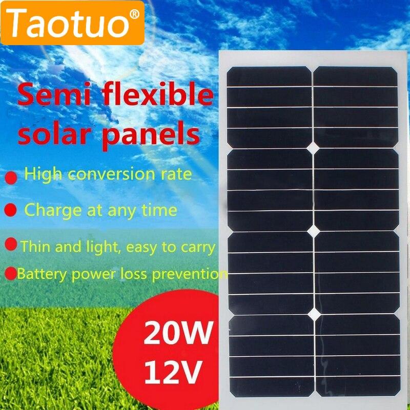 20W 12V Solar Panel Monocrystalline Silicon Semi Portable Flexible Solar Board Power Generater For Battery RV Car Boat Aircraft