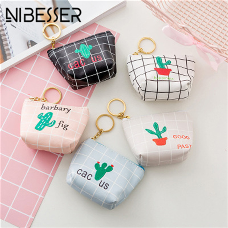 NIBESSER Cute Cactus Coin Purse Girls Short Zipper Mini Wallet Cartoon Letters Coin Storage Money Bag Purses With Key Holder new replacement spare parts beater blades
