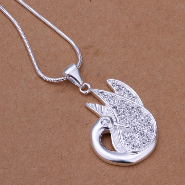 Wholesale 925 jewelry silver plated Swan Necklace,New Design Pendants  Necklace,Free Shipping SMTN279