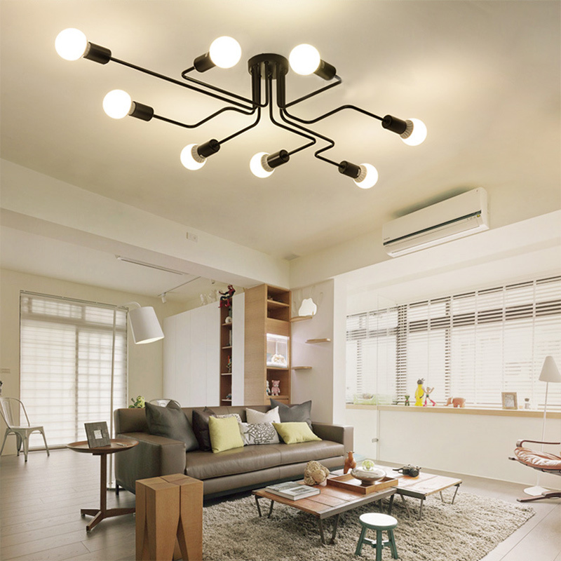 HTB10dV.XKOSBuNjy0Fdq6zDnVXaJ Oygroup Vintage Ceiling Lights For Home Lighting Luminaire Multiple Rod Wrought Iron Ceiling Lamp E27 Bulb Living Room#CL06/CL08