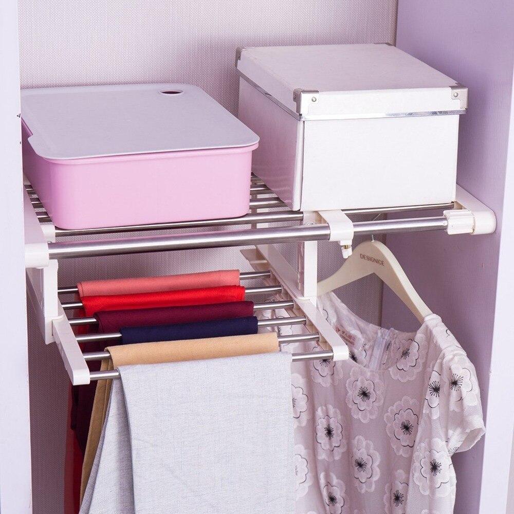 Adjustable font b Closet b font Organizer Storage Shelf Wall Mounted Kitchen Rack Wardrobe Clothes Hanger
