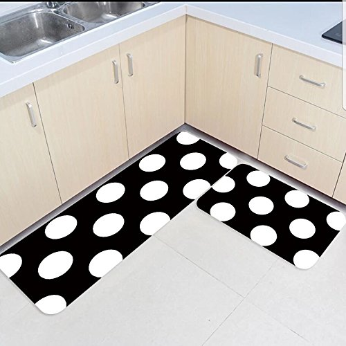 2 pièces cuisine tapis et tapis ensemble noir et blanc points maison décorer antidérapant chambre salon paillassons