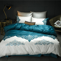 White green Luxury Embroidery 60S Egypt Cotton Comfortable Bedding Set Duvet cover Bed Sheet Pillowcase Queen King size 4/7pcs