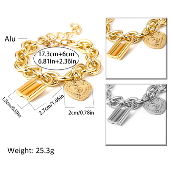Ingemark Punk Lover's Lock Pendant Bracelets Bangles Fashion Alloy Carved Lover Heart Thick Chain Bracelet Couple Jewelry 2019 2