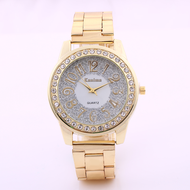 2017 terbaru merek mewah wanita stainless steel emas perak kuarsa menonton fashion jam tangan