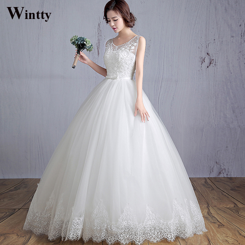 Plus Size Lace Wedding Dresses: Wintty 2016 Fashion Vintage Lace Ball Gown Wedding Dresses