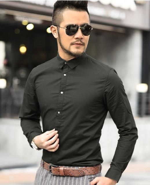 2016 New Autumn Fashion Brand Men Clothing Slim Fit Men Long Sleeve Shirt Men solid Cotton Casual Men Shirt Social