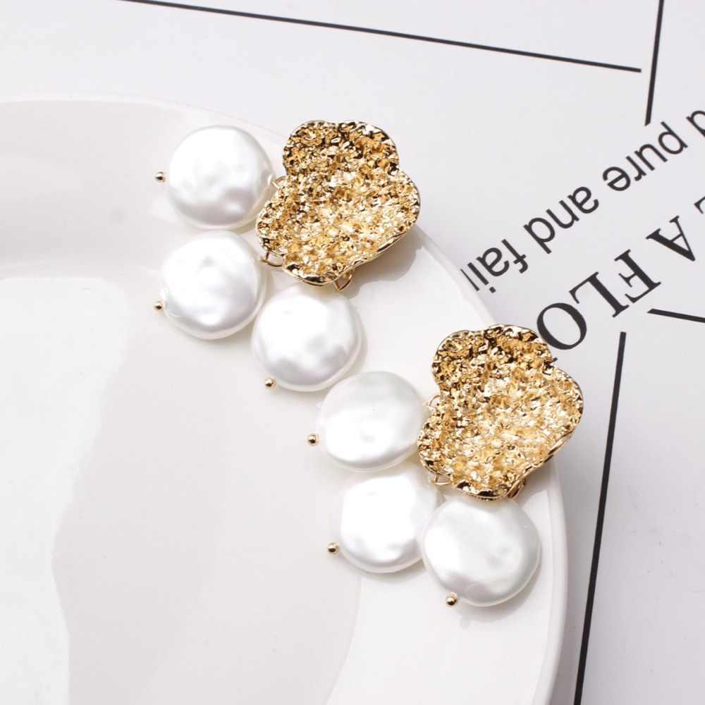 ヨーロッパバロック様式のゴールド真珠のイヤリング女性の高級不規則な形の金のスタッドのイヤリング新 Za 出穂ファッションジュエリー 2019
