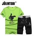 Jolintsai T Shirts + Shorts Brand Clothing Men Letter Printed Sportswear Set 2017 Summer Short Sleeve T-Shirt Suit Plus Size 4xl
