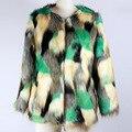 Роскошные MS Лисий Мех Пальто Высокое Качество Искусственного Меха Пальто MS Зима Теплая Пальто S-XL