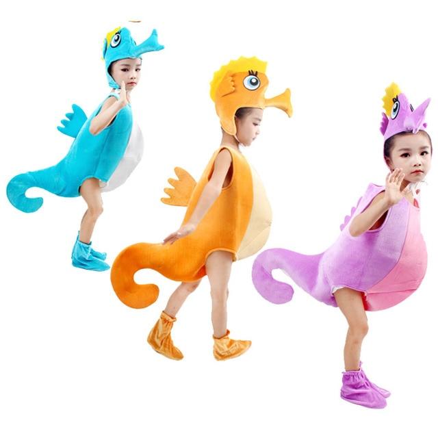 Children kid blue purple orange hippocampus sea horse costume Halloween party cosplay animal costume clothes for boy girl