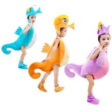 Kinder kid blau lila orange hippocampus sea horse kostüm halloween Party cosplay tier kostüm kleidung für junge mädchen
