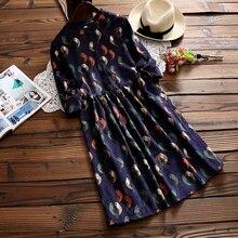 Женское свободное винтажное платье на осень и зиму, воротник-стойка, длинный рукав, цветочный принт, вельветовые платья, S-XXL