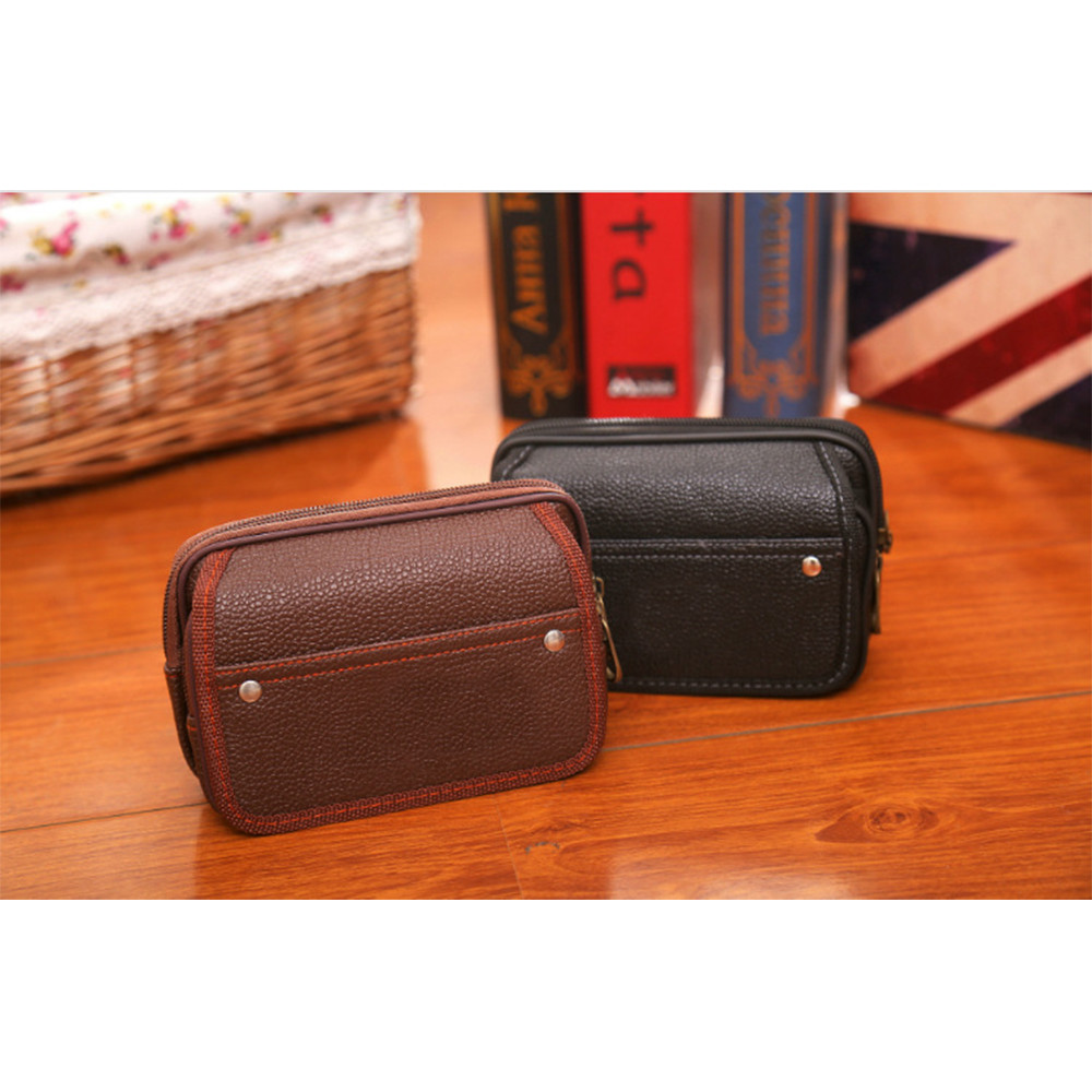 Mini Waist Packs Men's Fashion Solid Purse Bag Handle Zipper Handbag Coin Package Sacoche Homme Hot Sale