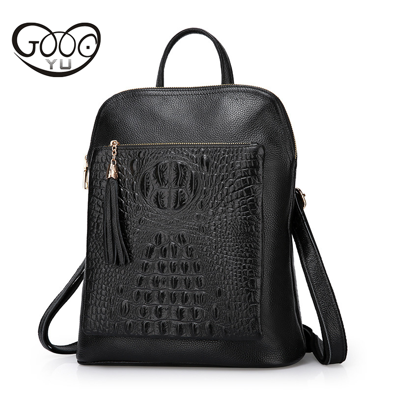 Men's Bags Logical Women/men Bags Preppy Style Backpack Luxury Brands Backpack Genuine Leather Bag Head Layer Cowhide Crocodile Print Shoulder Bags To Assure Years Of Trouble-Free Service