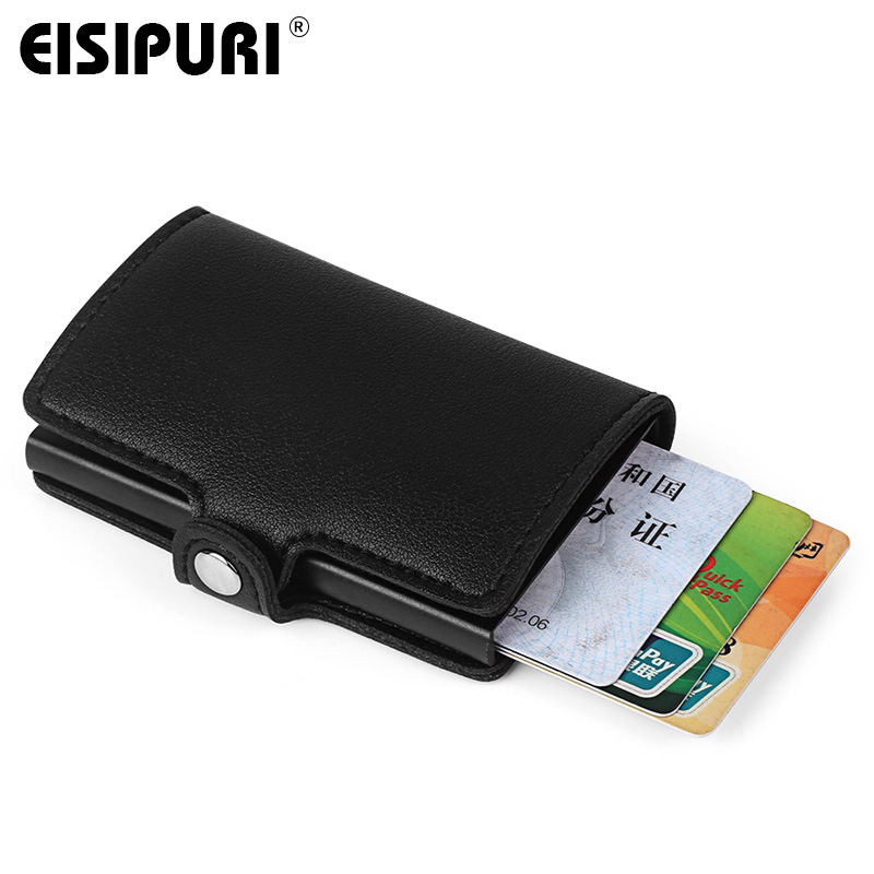 Men Wallet Card Holder RFID Aluminium Alloy Credit Card Holder PU Leather Wallet Antitheft Men Automatic Pop Up RFID Wallet