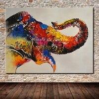 Mintura Живопись Безрамное Картина Ручной Росписью Животных Картина Маслом На Холсте Home Decor Wall Art Абстрактная Живопись Маслом Слон