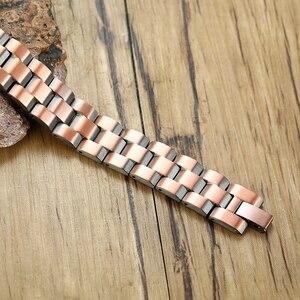 Image 3 - Vinterly magnetyczna bransoletka z miedzi mężczyźni Vintage Wrist Band bransoletka magnetyczna mężczyźni łańcuch ręczny zdrowie energia szeroka bransoletka dla mężczyzn