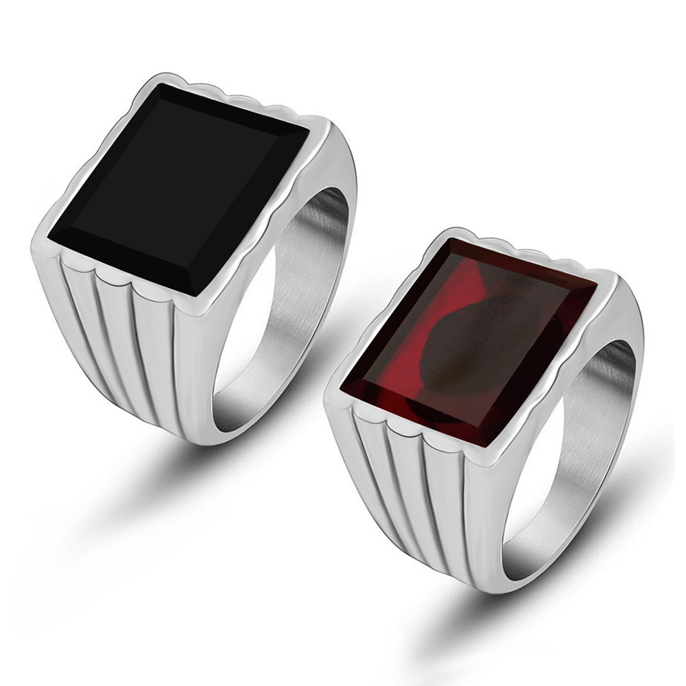 Simple Men Women Black,Red Square Gem Stone Ring Stainless Steel Finger Ring for Lovers