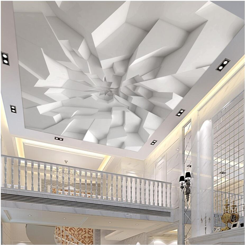 Beibehang Large Custom Wallpaper Wall Murals 3d 3d White Polygonal Brick Wall Ceiling Wall Papel De