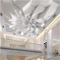 Beibehang Large Custom Wallpaper Wall Murals 3d 3d White Polygonal Brick Wall Ceiling Wall Papel De