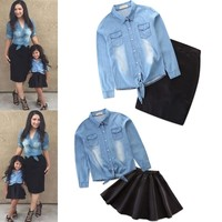 Mother Daughter Dresses 2019 family look Denim blouse Shirt + Black Tutu Skirt Suit Family Matching Outfits Mommy and Baby Sets