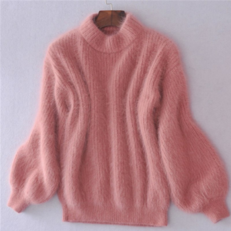 Womens Fashion Long Sleeve Loose Knitwear Top Sweater Fuzzy Hairy ...