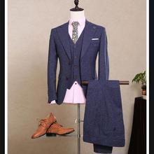 Custom (Jacket+Pants+Vest) 2017 NEW Fashion Men's Suits Slim Fit Blazers Groom Prom Wedding Male Tuxedo 3 Piece