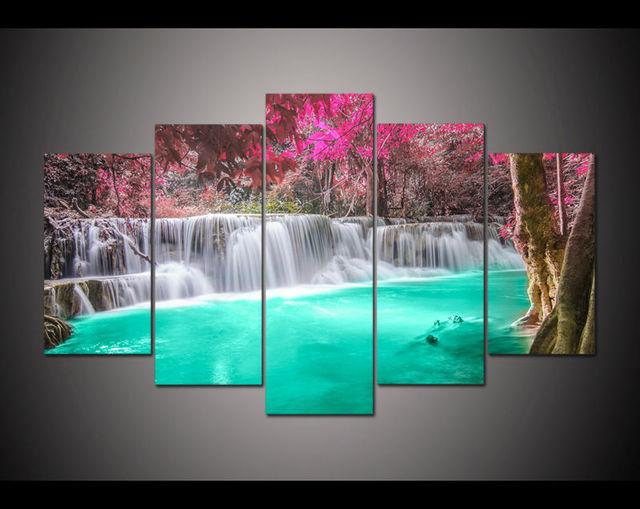 Turquoise Accessoires Woonkamer : Doek art 5 panel hd gedrukt olieverfschilderij paars turquoise
