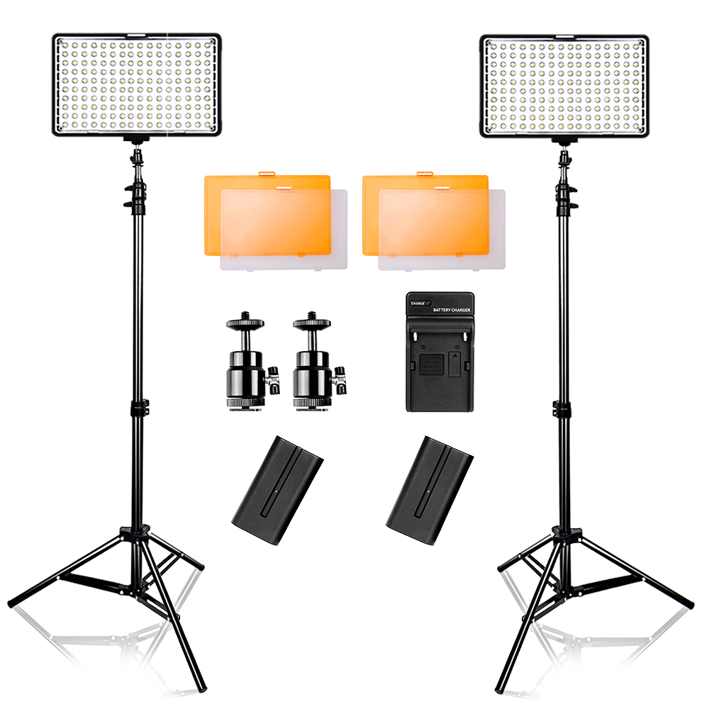 Travor 2 in 1 Led Video Light 3200/5500K Camera Light Kit for Canon Nikon Sony DSLR Camera and Camcorder with carry case-in Photographic Lighting from Consumer Electronics    1