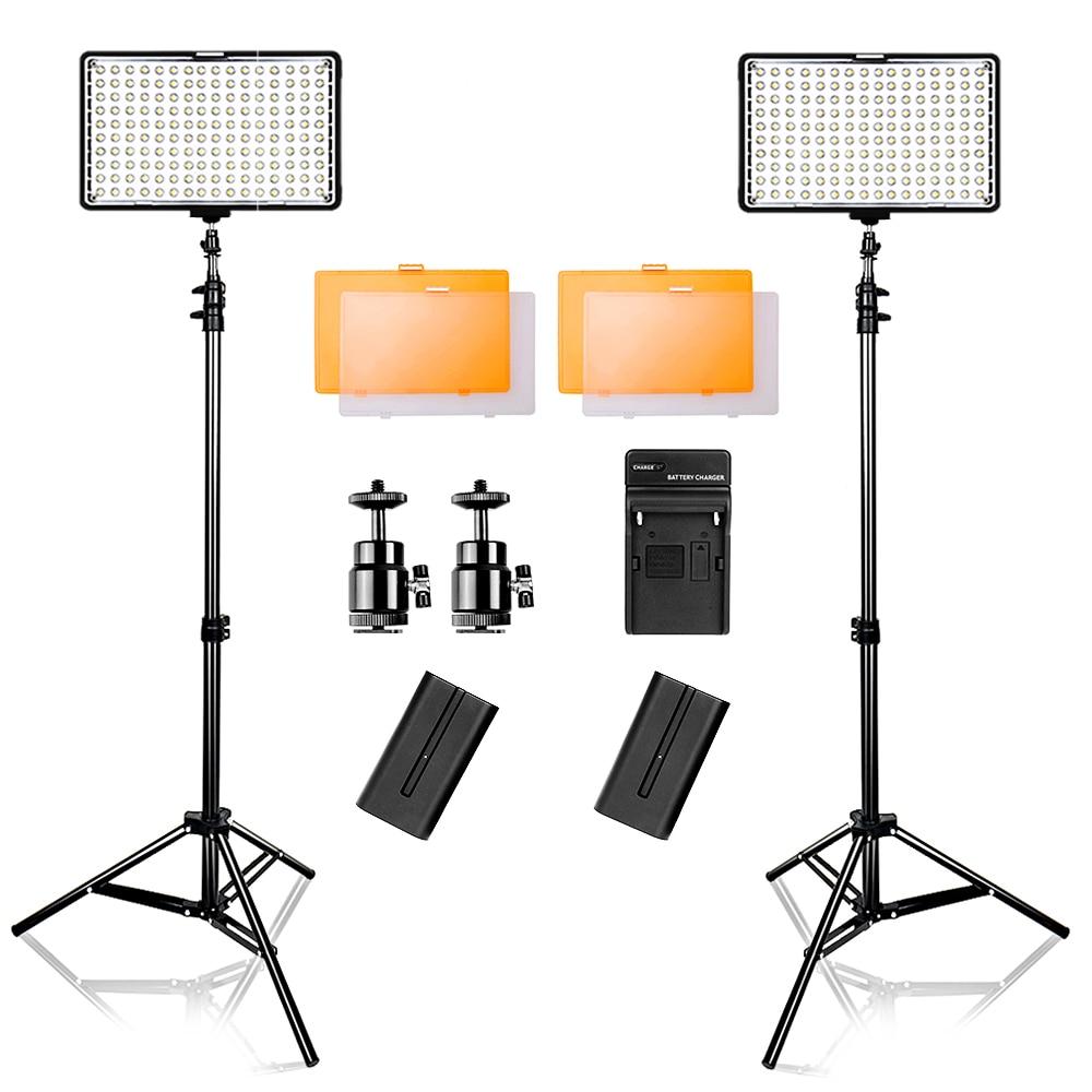 Kit de lumière vidéo Led Travor 2 en 1 3200/5500K pour appareil photo Canon Nikon Sony DSLR et caméscope avec étui de transport