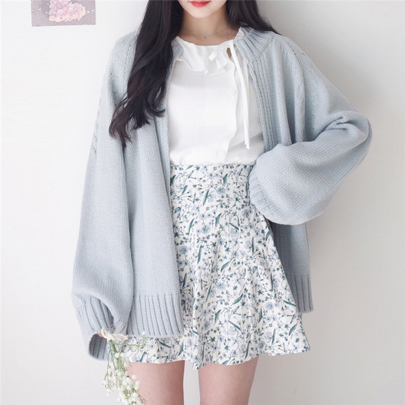 Spring Sweater Coat Open Stitch Knit Jacket Solid Color Cardigan For Women Casual Sweaters Top Jackets Japanese Cardigan TT3753