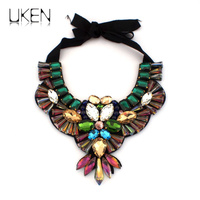 Fashion Accessories 2014 Gray Black Crystal Beads Handmade Statement Chokers Collar Necklaces For Women Charm Jewelry