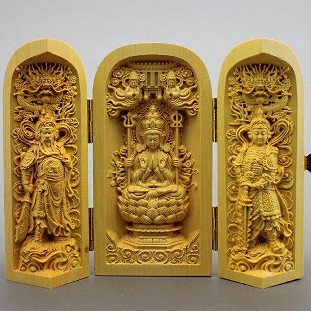 Sculptures en bois statues de bouddha de l'ouest Saha trois saint Guanyin au large du public trois boîte ouverte en bois artisanat décoration.