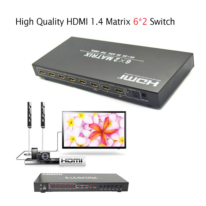 HDMI 1.4 Matrix 6x2 Switch converter adapter support 4Kx2K 3D IR extender for Blue-ray player HD DVD player satellite receiver